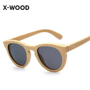 X-WOOD Polarized Wood Wooden Womens Retro Vintage Natural Bamboo Sunglasses Small Oval Frame Hot Summer Male Driving Eyeglasses