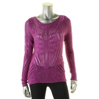 Lauren Ralph Lauren Womens Open Stitch Long Sleeves Pullover Sweater