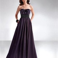 A-line Floor Length Strapless Open Back Prom Dress With Sequins Belt Dark Chocolate 1299
