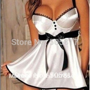 M L XL XXL XXXL 2colors Plus szie bigger size Sexy baby doll lingerie Women sleepwear wedding Bride robe Pajamas chemise white