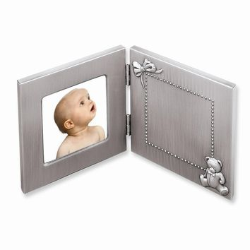 Pewter Finish Hinged Baby 3x3 Photo Frame - Engravable Personalized Gift Item