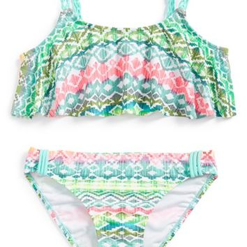 Girl's Malibu Geometric Print Two-Piece Swimsuit,