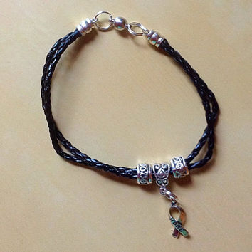 Black Leather Braid Bracelet-Men-Women-Awareness-Magnetic-Charms Cross-Heart-Wing-Tassel-Sickle Cell-Mourning-Massacre-Epilepsy-Lupus-Cancer