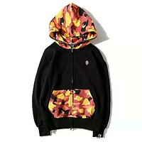 BAPE AAPE Trending Women Men Stylish Camouflage Stitching Color Hoodie Sweater Top Sweatshirt