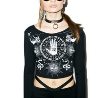 Chiffon Zodiac Sign Print Long Sleeve Black Crop Top