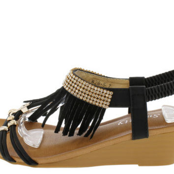 W285 BLACK RHINESTONE FRINGE OPEN TOE WEDGE