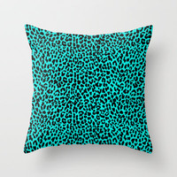 Neon Turquoise Leopard Throw Pillow by M Studio
