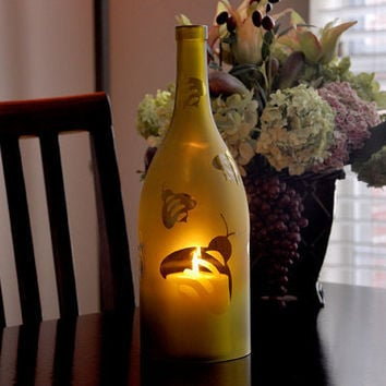 Wine Bottle Lights  Frosted Bumblebee Hurricane by TipsyGLOWs
