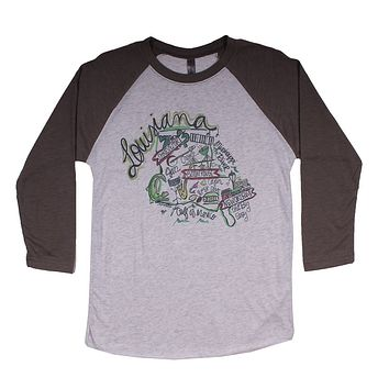 Louisiana Roadmap Raglan Tee Shirt in Gray by Southern Roots