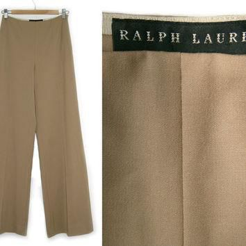 Vintage Ralph Lauren Pants~Size Small/4~Waist 25 to 28~80s 90s High Waisted Wool Tan C