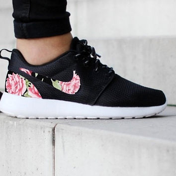 Nike Roshe Run One Black with Custom Pink Red Green Rose Floral Print