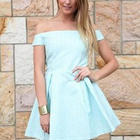 Light Blue Patterned Off The Shoulder Pleated Dress