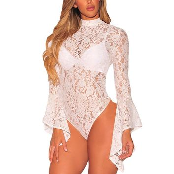 Womens Sexy White Floral Lace Bodysuit