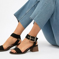 River Island sandals with block heel and oversized buckle at asos.com