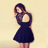 Sexy Women Vestido Women Lace Dress Sexy Pinup Floral Long Sleeve Dresses Backless Party Mini Dress Casual Robe CF