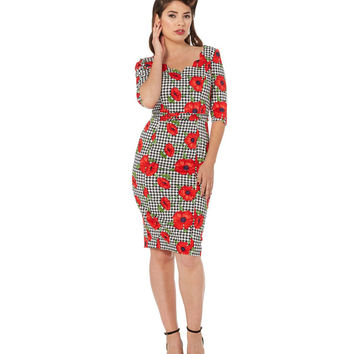 Eloise Houndstooth Poppy Pencil Dress