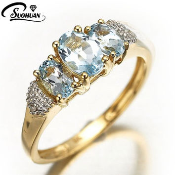 Fashion Size 6,7,8,9,10 New Jewelry Lady's Elegant Blue Aquamarine Cz 18K Yelow Gold Filled Anniversary Ring Gift  Free Shipping