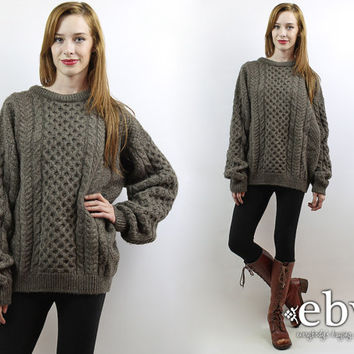 Vintage 90s Oversized Cable Knit Sweater L Brown Sweater Chunky Knit Oversized Sweater Oversized Knit Fisherman Sweater Wool Sweater