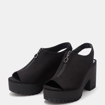 Mid heel sandals with front zip and platform - Heels - Bershka United States