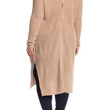 PLANET GOLD | Lace Up Back Duster Sweater (Plus Size) | Nordstrom Rack