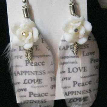 Feather Earring Black and White with Peaceful Sayings,Fimo Roses, Crystal Settings, Silver leaves, Handcrafted