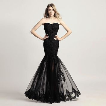 Vintage Black Trumpet Long Evening Dresses Lace Appliques Mother of the Bride Dress Prom Party Gowns SD310