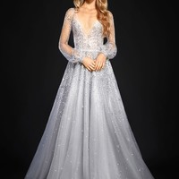 Hayley Paige Lumi Embellished Long Sleeve Tulle Ballgown (In Stores Only) | Nordstrom