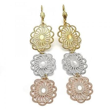 Gold Layered 5.087.005 Long Earring, Flower and Filigree Design, Diamond Cutting Finish, Tri Tone