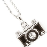 Vintage Style Silver Tone Small Black Camera Photography Crystal Lens Charm Necklace