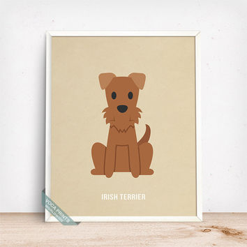 Irish Terrier Print, Irish Terrier Poster, Dog Print, Irish Dog, Ireland Dog, Dog Breed, Irish Red Terrier, Wall Art, Fathers Day Gift