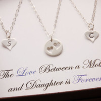 Mother Daughter Necklace, message jewelry, matching necklace, pair necklace, heart necklace, mothers day jewelry, daughter necklace, N10