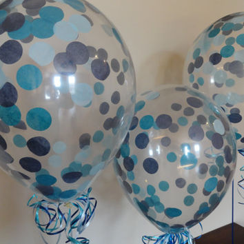 "HUGE 16"" Qualatex Latex Blue Ombre Confetti Balloons - Wedding, Shower, Birthday, Baby, 1st Birthday, Back to School, Party Decorations"