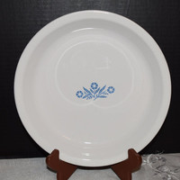 Corning Ware Cornflower Pie Serving Plate P-309 Made in USA Range Oven Microwave Safe Vintage White Ceramic Pie Plate Blue Cornflower Motif