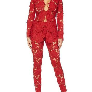 Red Crochet Floral Lace Pant - FINAL SALE