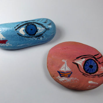 Hand Panted Stone, Rock Art, Pebble Art, Evil Eye Decor, Paperweight, Decorative Rock, Painted Pebble, Stone Art, Beach Rock Art