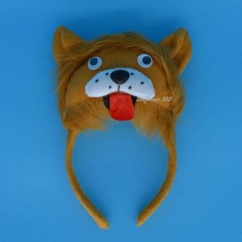 ONETOW 2017 NEW Man Kids Boy Girl 3D King Lion Headband Animal Cosplay Costume Party Halloween Christmas