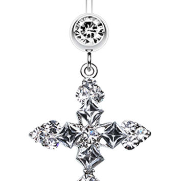 Princess Cut Cross Sparkle Belly Button Ring