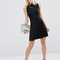 ASOS Mini Skater Dress with Collar in Ponte at asos.com