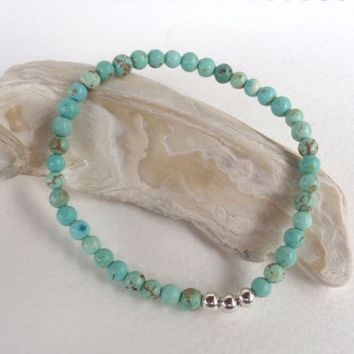 Turquoise Howlite Gemstone,925 Sterling Silver Stretch Bracelet