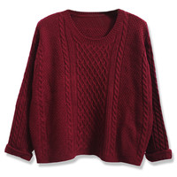 ROMWE | ROMWE Twisted Folded Cuffs Burgundy Jumper, The Latest Street Fashion