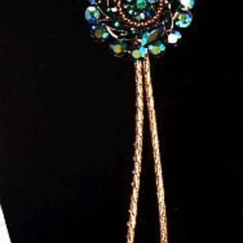 "Bolo Tie Lariat Necklace Teal Blue Green Rhinestone Pendant Gold Leather Cord Beaded Tips 20"" NOS Vintage"
