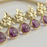 Set Of 5  Bridesmaids Earrings Lilac by anatoliantaledesign