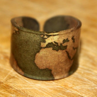 Gold World Map Ring Choose Your Size by kaykreationsphoto on Etsy