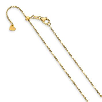 1.25mm 14k Yellow Gold Adjustable Flat Cable Chain Necklace