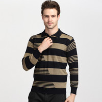 Striped Print Pullover Slim Fit Knit Polo Collar Sweater