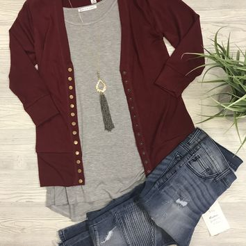 Oh Snap Cardigan in Cabernet