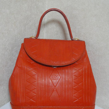 Vintage Fendi orange genuine leather handbag with geometric embossed design.  classic kelly purse. rhomboid