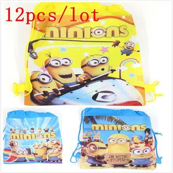 Minions 12Pcs Backpack Gift Bag Non-woven Fabrics Kid Bags Cute Cartoon Casual Style Back Packs Storage Back Pack Favor School