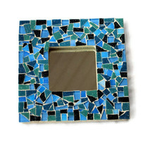 Square Mosaic Mirror in Blues and Greens