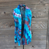 Tie Dye Cardigan Vest with Crochet Back